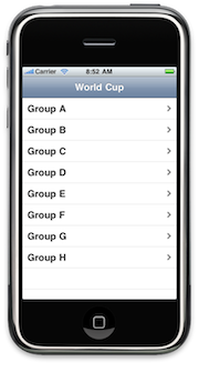 MyWorldCup Lab 4, showing all eight (8) groups