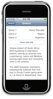 MyWorldCup Lab 4, showing details for Greece's team