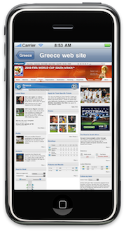 MyWorldCup Lab 4, showing the team web site for Greece