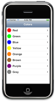 Nav Colors root view controller's view