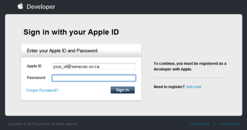 Register as an Apple developer, and writing software for iOS