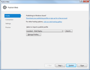 Windows Azure Publish 1 Profile