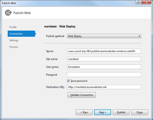 Windows Azure Publish 2 Connection