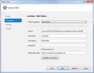 Windows Azure Publish 2 Connection