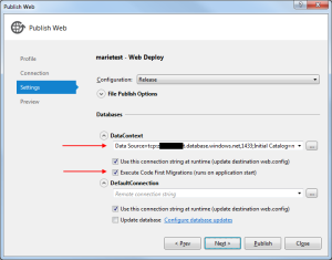 Windows Azure Publish 3 Settings