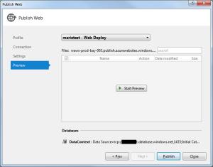 Windows Azure Publish 4 Preview