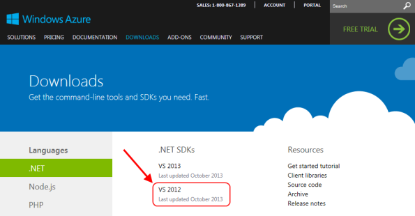 Windows Azure SDK for VS