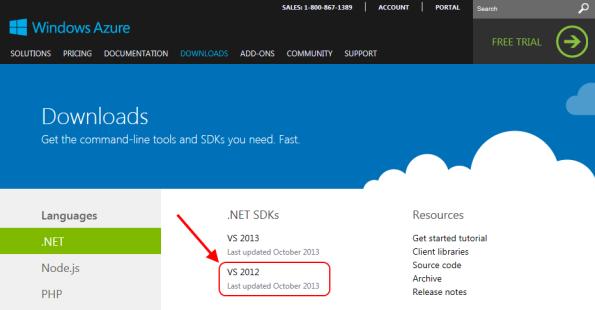 Windows Azure SDK for VS