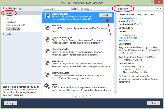 nuget-search-for-biggy-json